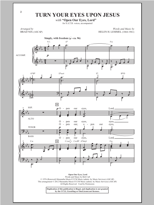 Partition chorale Turn Your Eyes Upon Jesus de Newsboys - SATB