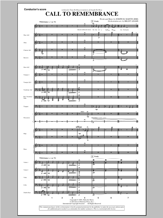 "Call To Remembrance (from ""Harvest Of Sorrows"") - Score Sheet Music"