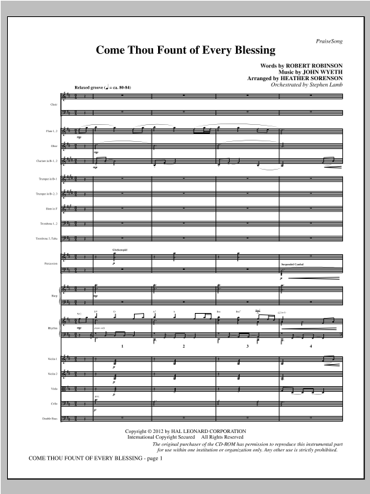 Come, Thou Fount Of Every Blessing (complete set of parts) sheet music for orchestra/band (Orchestra) by Robert Robinson, Heather Sorenson and John Wyeth. Score Image Preview.