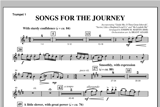 """Songs For The Journey (from """"Footprints In The Sand"""") - Bb Trumpet 1 Sheet Music"""