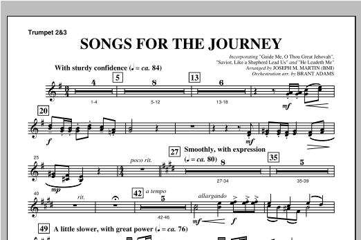 "Songs For The Journey (from ""Footprints In The Sand"") - Bb Trumpet 2,3 Sheet Music"