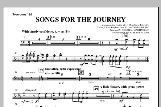 """Songs For The Journey (from """"Footprints In The Sand"""") - Trombone 1 & 2 Sheet Music"""