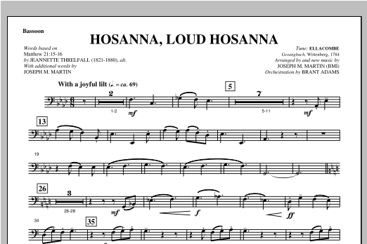 "Hosanna, Loud Hosanna (from ""Covenant Of Grace"") - Bassoon Sheet Music"