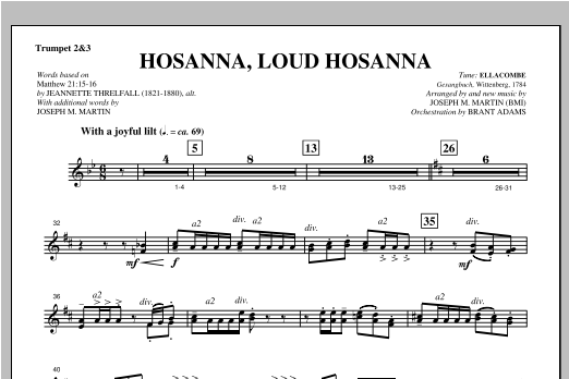 "Hosanna, Loud Hosanna (from ""Covenant Of Grace"") - Bb Trumpet 2,3 Sheet Music"