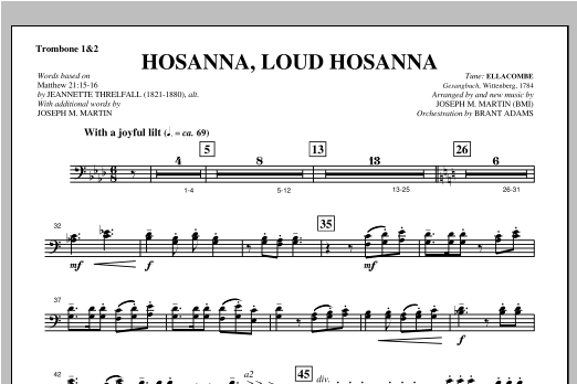 "Hosanna, Loud Hosanna (from ""Covenant Of Grace"") - Trombone 1 & 2 Partituras Digitales"