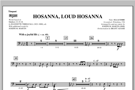 "Hosanna, Loud Hosanna (from ""Covenant Of Grace"") - Timpani Sheet Music"