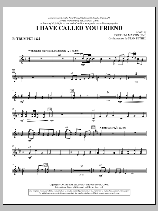I Have Called You Friend - Bb Trumpet 1,2 Sheet Music