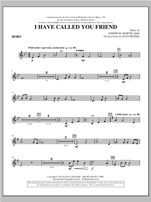 I Have Called You Friend - F Horn Sheet Music