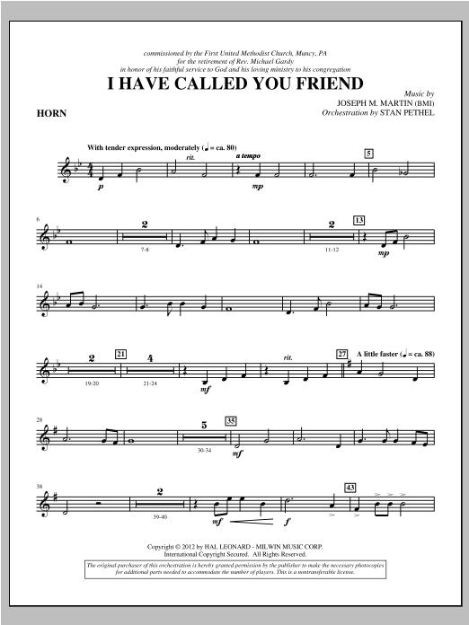 I Have Called You Friend - F Horn (Choir Instrumental Pak)