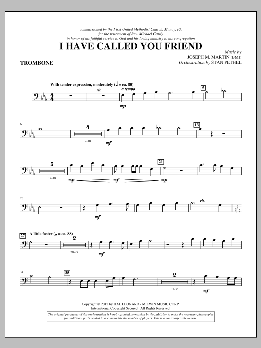I Have Called You Friend - Trombone (Choir Instrumental Pak)