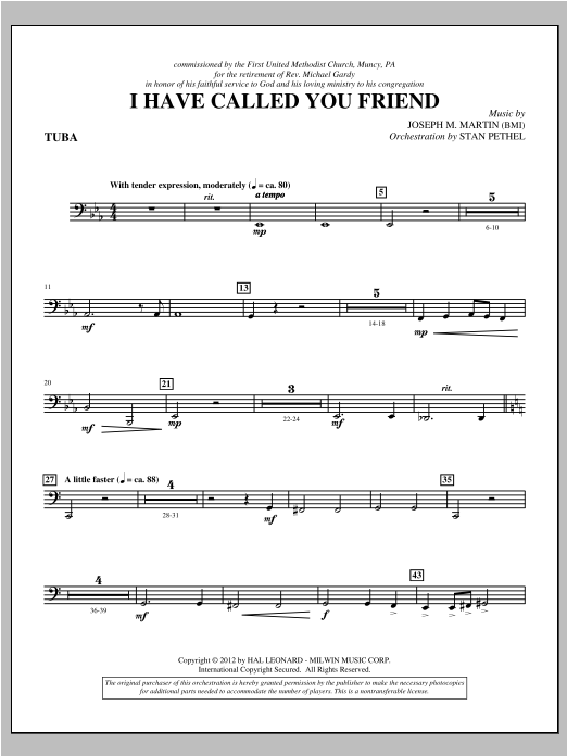 I Have Called You Friend - Tuba Sheet Music