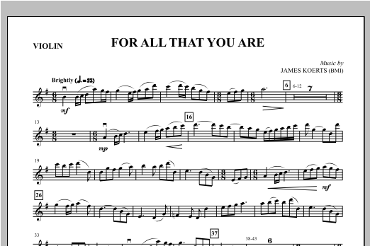 For All That You Are - Violin Sheet Music