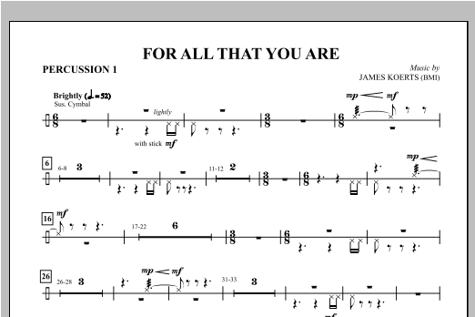 For All That You Are - Percussion 1 & 2 Sheet Music