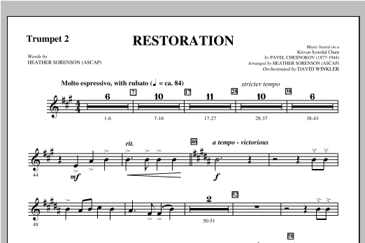 Restoration - Bb Trumpet 2 Sheet Music
