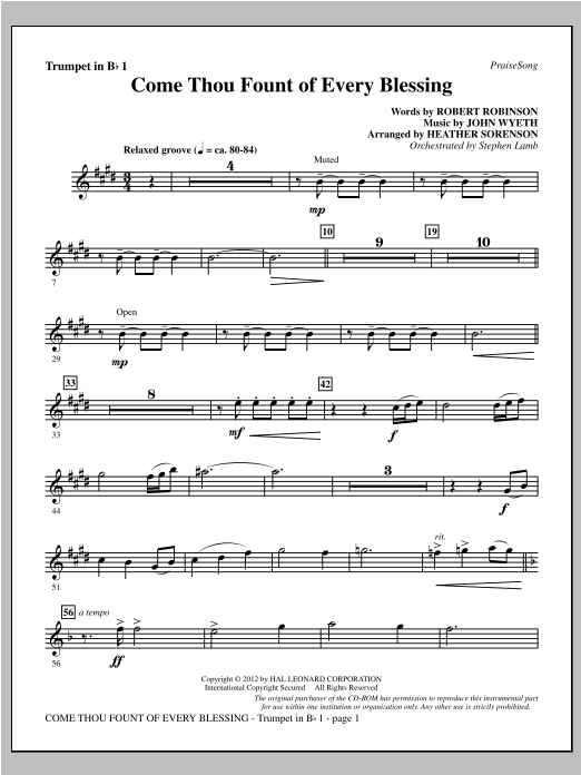 Come, Thou Fount Of Every Blessing - Bb Trumpet 1 Sheet Music