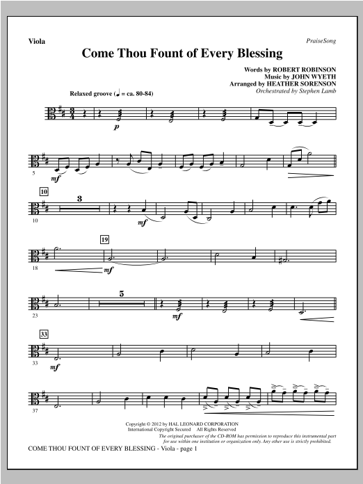 Come, Thou Fount Of Every Blessing - Viola Sheet Music