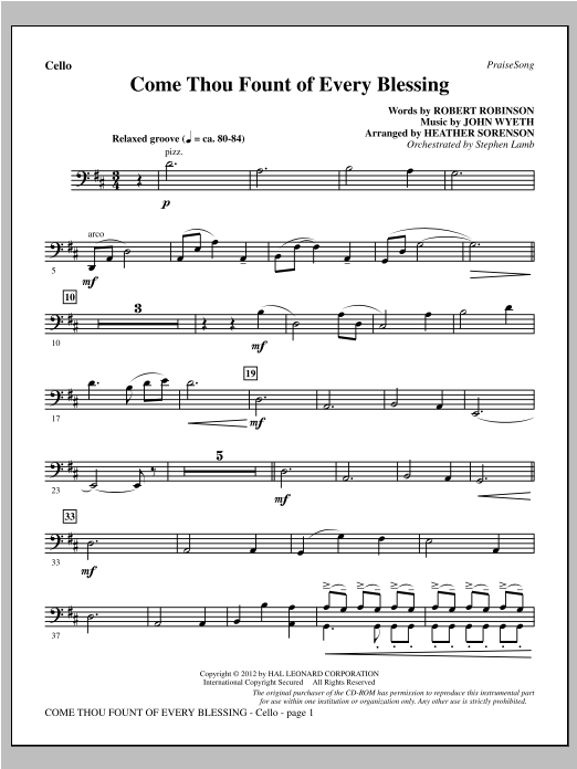 Come, Thou Fount Of Every Blessing - Cello Sheet Music