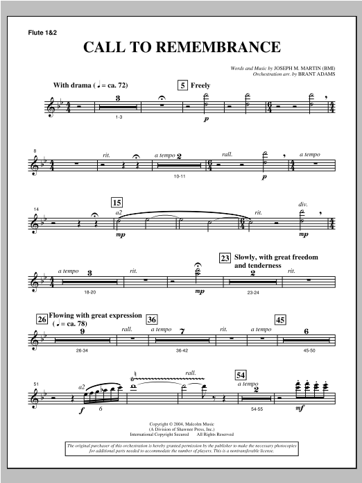 """Call To Remembrance (from """"Harvest Of Sorrows"""") - Flute 1 & 2 Sheet Music"""