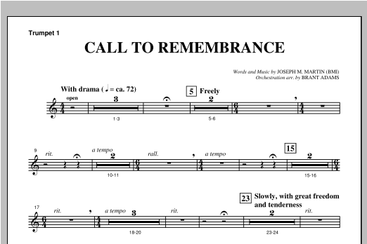 "Call To Remembrance (from ""Harvest Of Sorrows"") - Bb Trumpet 1 Sheet Music"