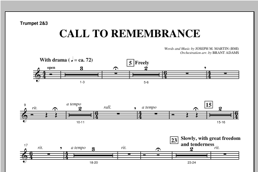 "Call To Remembrance (from ""Harvest Of Sorrows"") - Bb Trumpet 2,3 Sheet Music"