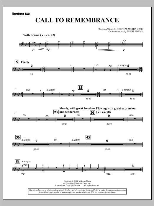 """Call To Remembrance (from """"Harvest Of Sorrows"""") - Trombone 1 & 2 (Choir Instrumental Pak)"""