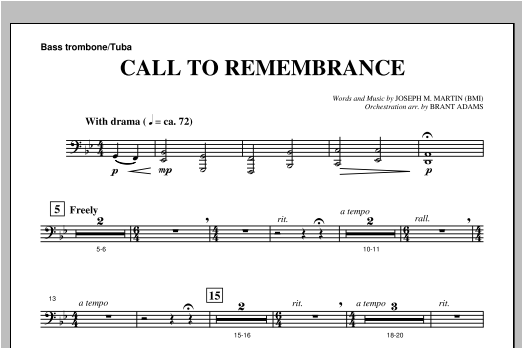 "Call To Remembrance (from ""Harvest Of Sorrows"") - Bass Trombone/Tuba Sheet Music"