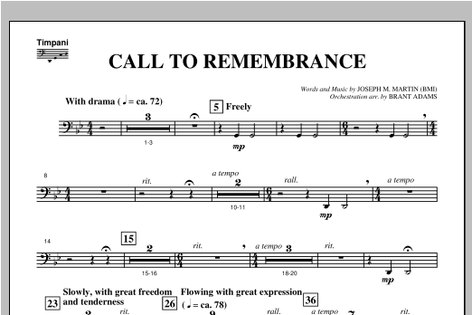 "Call To Remembrance (from ""Harvest Of Sorrows"") - Timpani Sheet Music"