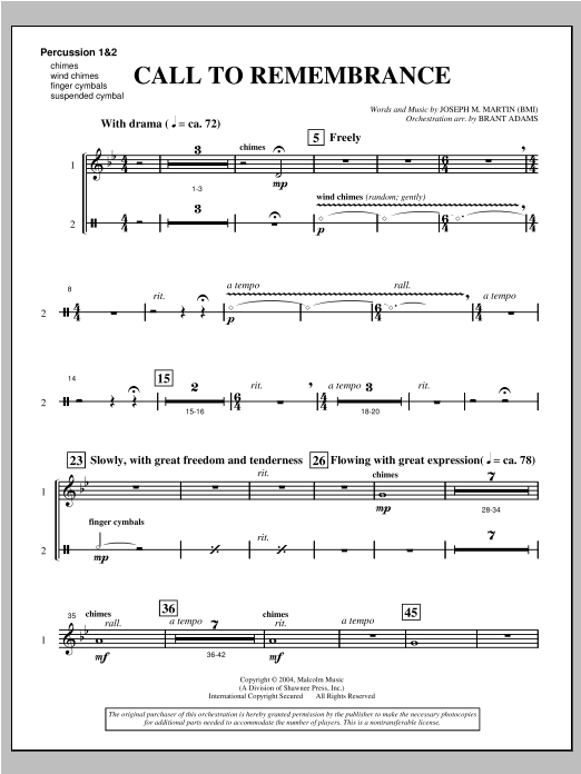 "Call To Remembrance (from ""Harvest Of Sorrows"") - Percussion 1 & 2 Sheet Music"