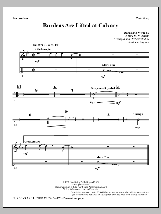 Burdens Are Lifted At Calvary - Percussion Sheet Music