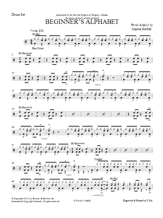 Beginner's Alphabet - Drum Set Sheet Music