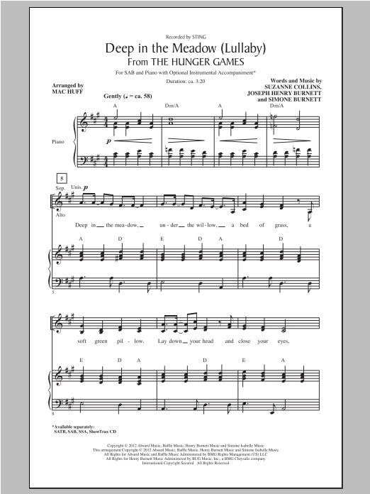 Deep In The Meadow (arr. Mac Huff) Sheet Music
