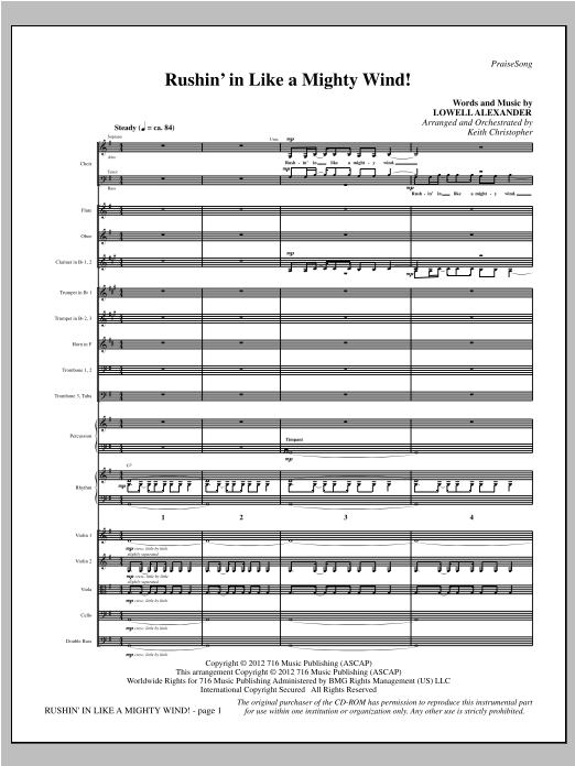 Rushin' In Like A Mighty Wind! (complete set of parts) sheet music for orchestra/band (Orchestra) by Keith Christopher and Lowell Alexander. Score Image Preview.