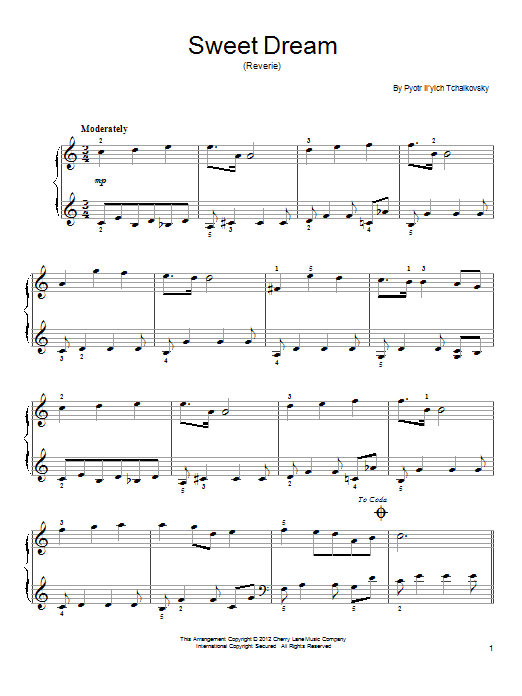 Partition piano Sweet Dream (Douce Reverie), Op. 39, No. 21 de Pyotr Il'yich Tchaikovsky - Piano Facile