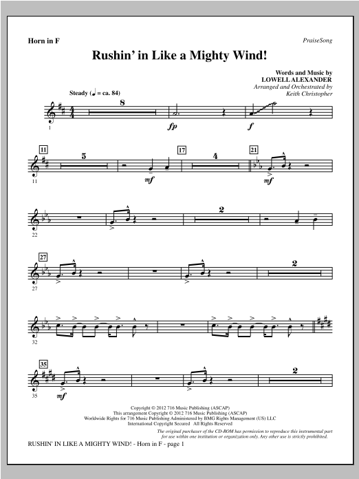 Rushin' In Like A Mighty Wind! - F Horn Sheet Music