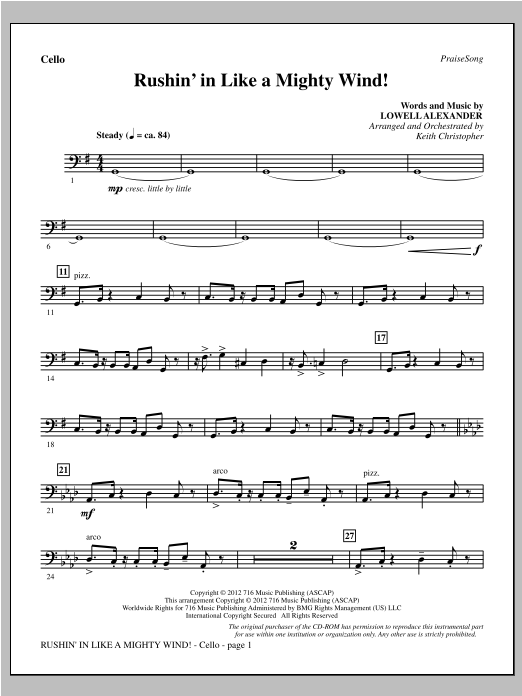 Rushin' In Like A Mighty Wind! - Cello Sheet Music