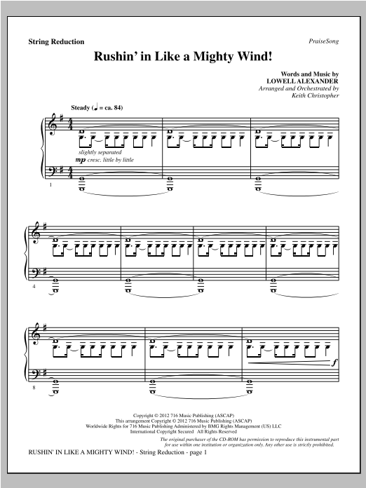 Rushin' In Like A Mighty Wind! - Keyboard String Reduction Sheet Music