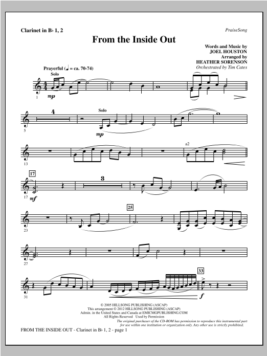 From The Inside Out - Bb Clarinet 1 & 2 Sheet Music