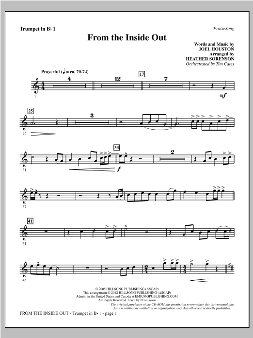 From The Inside Out - Bb Trumpet 1 Sheet Music