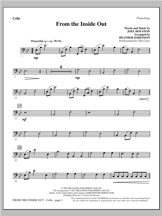 From The Inside Out - Cello Sheet Music