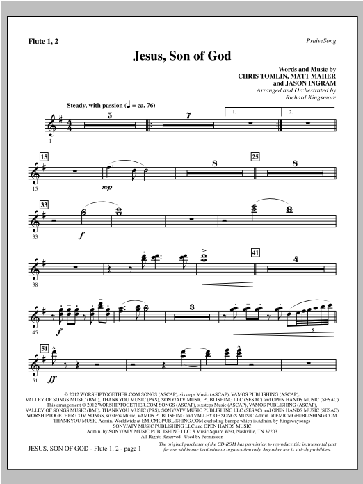 Jesus, Son Of God - Flute 1 & 2 Sheet Music