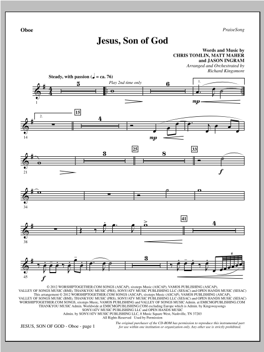 Jesus, Son Of God - Oboe Sheet Music