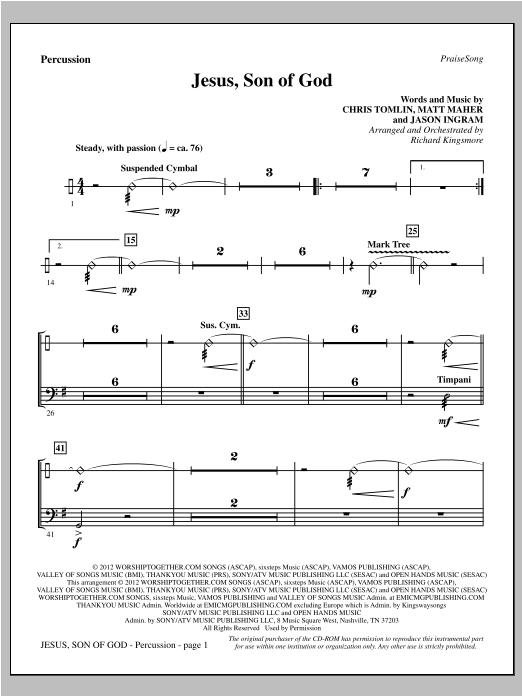 Jesus, Son Of God - Percussion Sheet Music