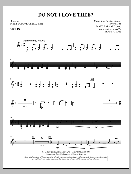 Do Not I Love Thee? - Violin Sheet Music