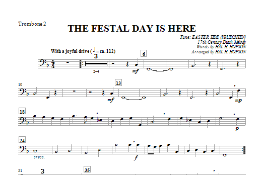The Festal Day Is Here - Trombone 2 Sheet Music