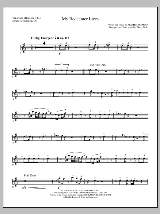 My Redeemer Lives - Tenor Sax/Bari TC (sub. Tbn 2) Sheet Music