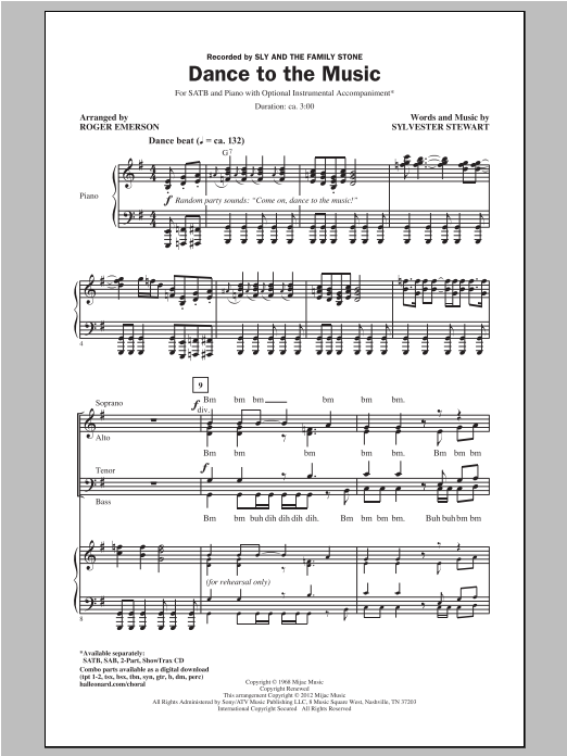 Dance To The Music (SATB Choir)