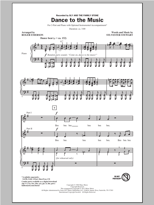 Dance To The Music Sheet Music