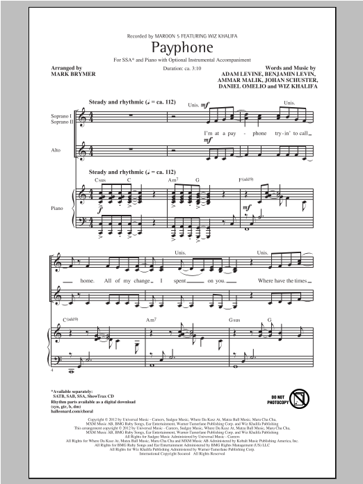 Payphone (arr. Mark Brymer) Sheet Music