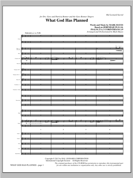 What God Has Planned (complete set of parts) sheet music for orchestra/band (Orchestra) by Mark Hayes. Score Image Preview.