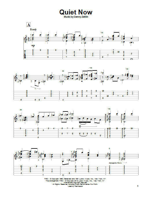 Tablature guitare Quiet Now de Gene Bertoncini - Tablature Guitare
